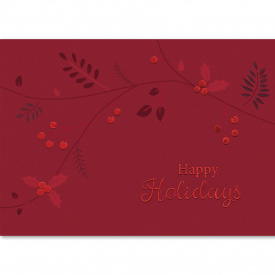 Red Foil Holly Leaves